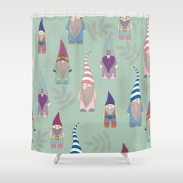 Gnomes/green background Shower Curtain