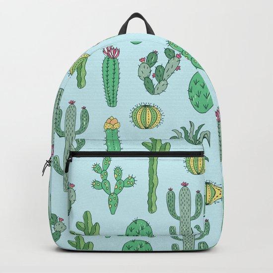 Cactus Pattern Light Blue Backpack