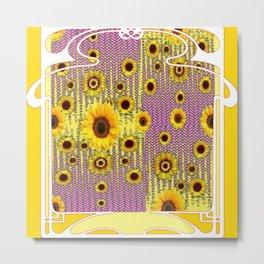 YELLOW ART NOUVEAU SUNFLOWERS ABSTRACT DESIGN Metal Print