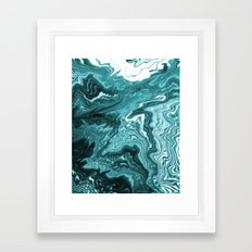 Yumiko - spilled ink painting abstract minimal ocean wave water sea monochromatic trendy hipster art Framed Art Print