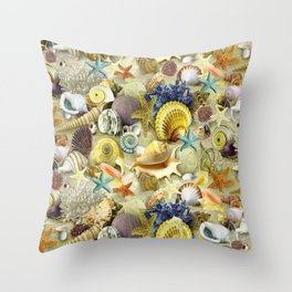 Seashells And Starfish Throw Pillow