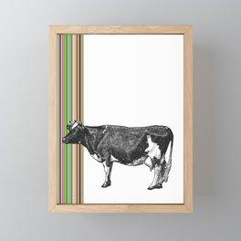 Retro Stripes and Cow Framed Mini Art Print