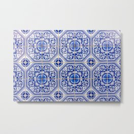 Close-up of blue and white ceramic wall tiles in Tavira, Portugal Metal Print