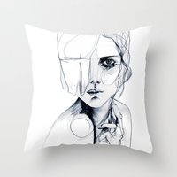 shipping Throw Pillows featuring Sketch V by Holly Sharpe
