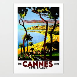 Cannes Travel Poster Art Print