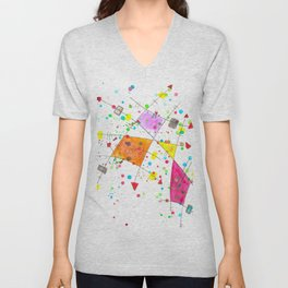 Abstract Arrows and Lines Watercolour Expressionist Art Unisex V-Neck