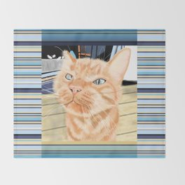 Oliver the Sniffy Red Tabby Cat Throw Blanket