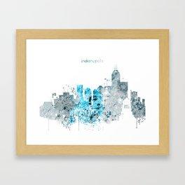 Indianapolis Monochrome Blue Skyline Framed Art Print