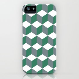 Diamond Repeating Pattern In Quetzal Green and Grey iPhone Case