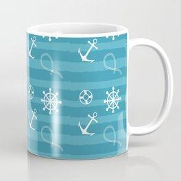 Anchor Steering Wheel Lifebuoy Mariners Pattern Coffee Mug
