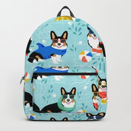 Tri Corgi Pool Party Dog Print beach ball summer pool Backpack