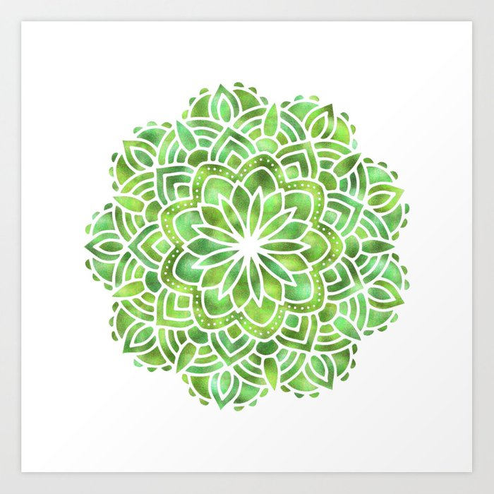 Mandala Green Leaves Art Print