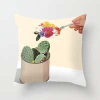 succulent Throw Pillows featuring SUCCULENT by Beth Hoeckel