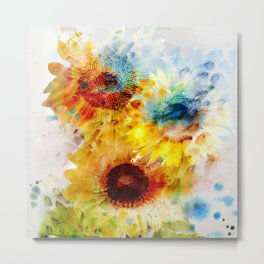 Watercolor Sunflowers Metal Print
