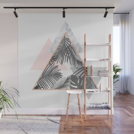 Tropical Marble Blush Pink Gray Copper Wall Mural