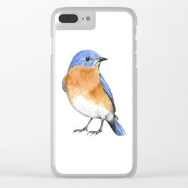 eastern blue bird watercolor painting Clear iPhone Case