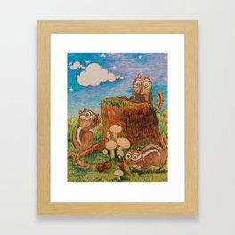 Chipmunk Picnic Framed Art Print