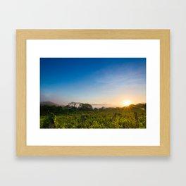 Sunrise over the fields Framed Art Print