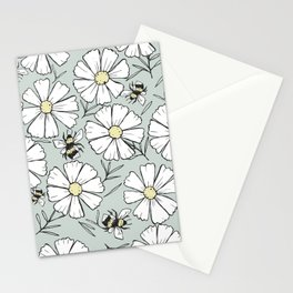 Bees and cosmos flowers Stationery Cards