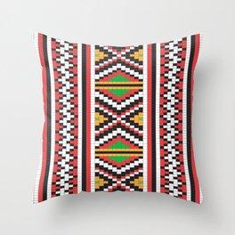 Slavic cross stitch pattern with red green orange black white Throw Pillow
