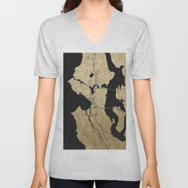 Seattle Black and Gold Street Map Unisex V-Neck