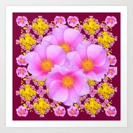 Pink & Yellow Burgundy Rose Flowers Art Art Print