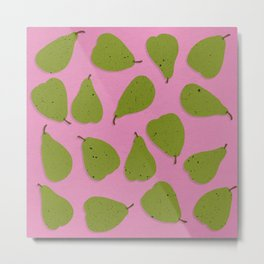 Pear Design - Fruit, Pink and Green, Pear Pattern Metal Print