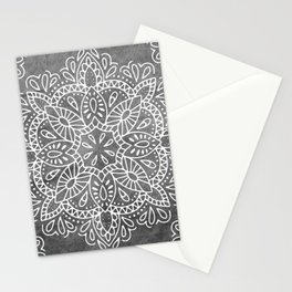 Mandala Vintage White on Ocean Fog Gray Stationery Cards