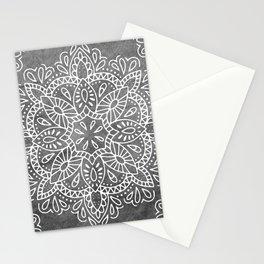 Mandala Vintage White on Ocean Fog Gray Stationery Cards