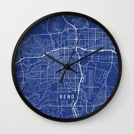 Reno Map, USA - Blue Wall Clock