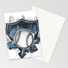 Baseball shield Stationery Cards