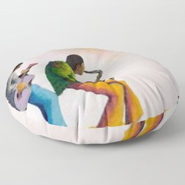 African American Masterpiece 'Bass, Sax, and Jazz' by Benny Andrews Floor Pillow