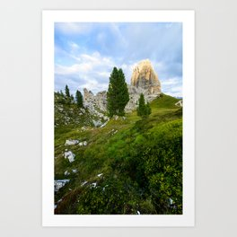 Cinque Torri rock formationas at sunset. Dolomites Art Print