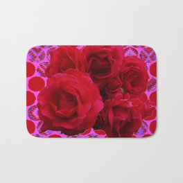 CLUSTER OF RED ROSES ON  RED-VIOLET ABSTRACT Bath Mat