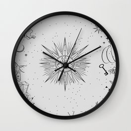Collection of mystical and mysterious in hand drawn style. skulls, animals, space objects Wall Clock