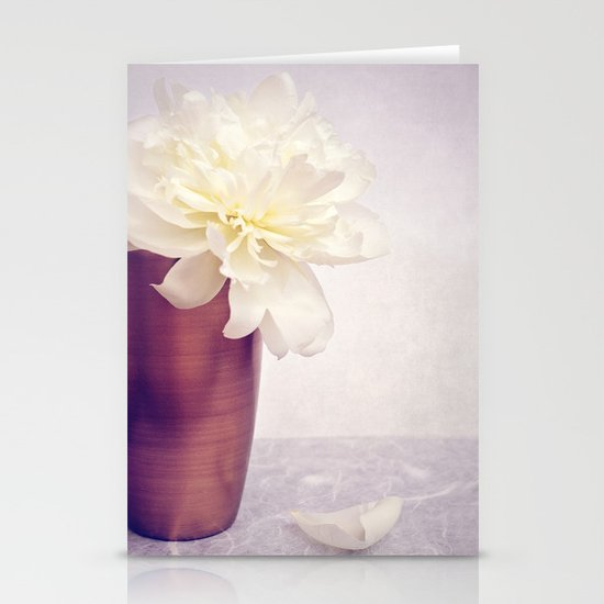 PEONY LOVE - Still life with vase and white peony Stationery Cards