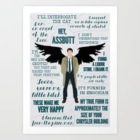 castiel Art Prints featuring Castiel by Dorothy Leigh