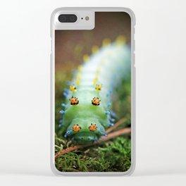 Green and Orange Cercropia Caterpillar Clear iPhone Case