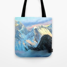 Panoramic Sunrise View Of Everest Mountain Tote Bag