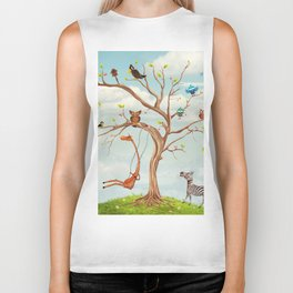 Tree with animals.Bunch of cute little creatures gathered on the branches of tree Biker Tank