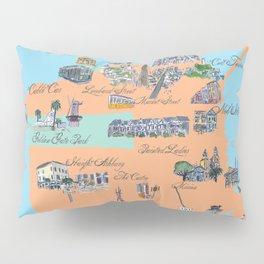 San Francisco Fine Art Print Retro Vintage Favorite Map with Touristic Highlights Active Pillow Sham