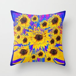 SURREAL FUCHSIA BLUEW SUNFLOWERS  MODERN ART Throw Pillow