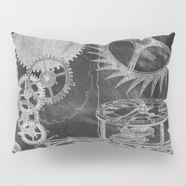 black and white vintage patent print chalkboard steampunk clock gear Pillow Sham