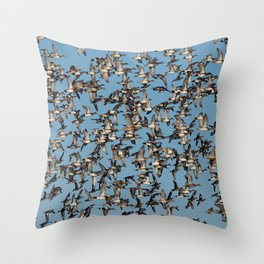 Wintering Ducks in Flight Throw Pillow