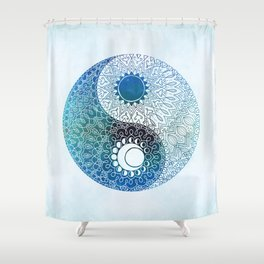 moon and sung (blue) Shower Curtain