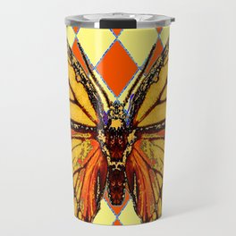 MONARCHS BUTTERFLY  &  ORANGE-BROWN HARLEQUIN PATTERN Travel Mug