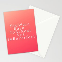 Modern Coral Peach White Inspirational Quote Stationery Cards
