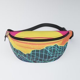 Neon glowing sun grid mountain Fanny Pack
