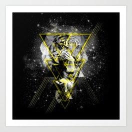 Cosmic Tiger B&W Art Print