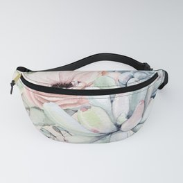 Elegant Blush Pink Succulent Garden by Nature Magick Fanny Pack